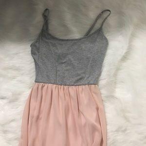 M • Grey + Blush Maxi Cami Dress • F21